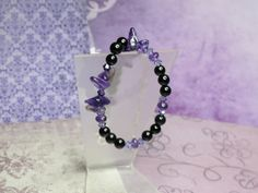 Purple and Black Gemstone Bracelet by joolrylane on Etsy, $25.00