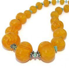 Chunky Copal Turquoise Handmade Necklace Beaded OOAK Jewelry Summer | ShadowDogDesigns - Jewelry on ArtFire