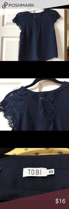 Black Lace Tobi Top Shift style, lace detail Tobi Tops Blouses