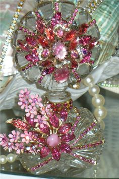 Antique Bejeweled Bottle 38 The Collection  By Debbie Del Rosario-Weiss, Juliana,brush, comb, vintage, Clock,tray, mirror, perfume, antique, vintage, victorian, Sparkle,