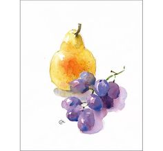 Pear and Grapes - Original Watercolor Painting 7.5 x 9.5 inches Kitchen Art Decor