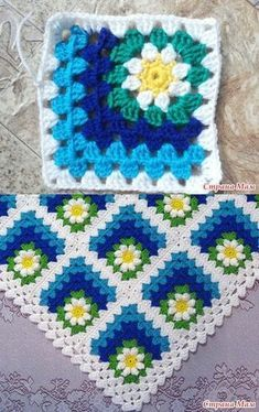 Mitered granny square, free pattern - use Google translate, along with photo tutorial