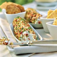 Cream Cheese-Olive Spread _ Dainty sandwiches filled with cream cheese-olive spread is a staple for ladies' teas in the South. This recipe can also be served with crackers or crudités - Southern Living