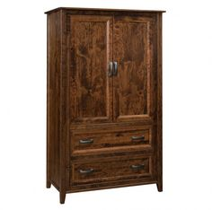 Store your wardrobe in contemporary style with the Calavar Amish armoire, featuring adjustable shelving and two storage drawers. Shown in rustic cherry, this Amish bedroom storage piece is offered in multiple hardwoods, including oak, hickory, and rustic walnut. Artisan built to last, this contemporary bedroom furniture showcases the best of handmade Amish furniture. #armoire #contemporaryfurniture