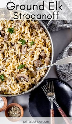 This ground elk stroganoff is a delicious homemade comfort food recipe made with fresh ingredients. It's an easy ground elk recipe that's perfect for this year's elk harvest. Elk Meat Recipes, Wild Game Recipes, Venison Recipes, Skillet Recipes, Yummy Recipes, Cooking Recipes, Man Food, Food Food, Ground Elk Recipes