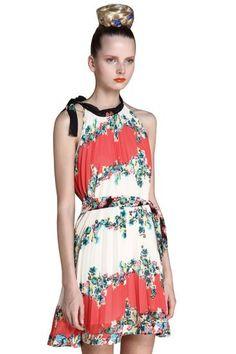 Red Sleeveless Floral Print Chiffon Belt Shift Boho Dress pictures
