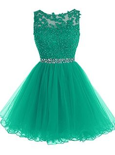 Tideclothes Short Beaded Prom Dress Tulle Applique Homeco…