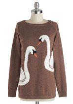 Swan of a Kind Sweater | Mod Retro Vintage Sweaters | ModCloth.com