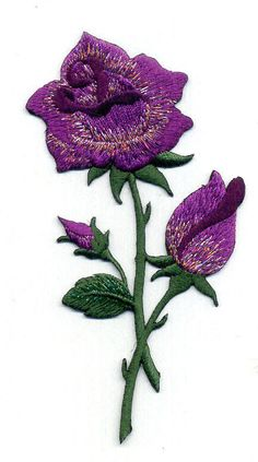 Purple Rose - Gardening -  Flower - Rose - Embroidered Iron On Applique Patch #Unbranded