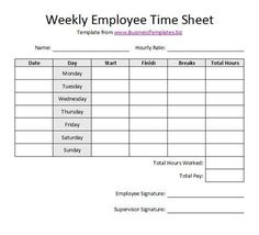 Daily Time Sheet Form | Free printable