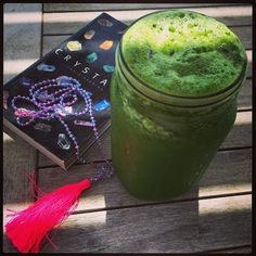 """Green Goddess Juice and an old book about crystals I found in a box this morning. I love quiet mornings on the porch! This is pear, cucumber, apple,…"""