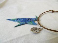 Shark origami bracelet, paper charm blue