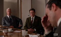 """MAD MEN SPOILER ALERT: Don Draper just admitted in a meeting to the executives at Hershey that he grew up in a whorehouse. I love the contrast between Ted and Roger's reactions. Ted is appropriately horrified whereas Roger seems to be thinking, """"Oh, I thought he was gonna say something REALLY bad. I'm gonna let this ride out."""""""
