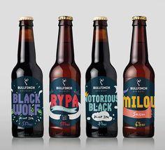 Bullfinch Brewery Bottle Packaging, Beverage Packaging, Bottle Labels, Beer Bottle, Craft Beer Brands, Craft Beer Labels, Pack Cerveza, Bullfinch, Drink Labels