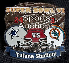 SUPER BOWL 6 Final Score LAPEL PIN & CARD Willabee Ward COWBOYS / DOLPHINS SB VI