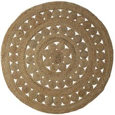 Serena & Lily Round Cotton & Jute Rug Natural Rg86 ($125) ❤ liked on Polyvore featuring home, rugs, hand woven rugs, round rugs, jute cotton rug, circular rug and jute rug