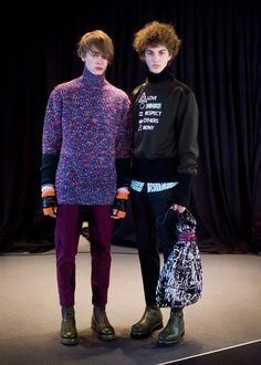 Glitchy purple jumper and symbol print backstage at Kenzo AW15 PFW. See more here: http://www.dazeddigital.com/fashion/article/23370/1/kenzo-aw15