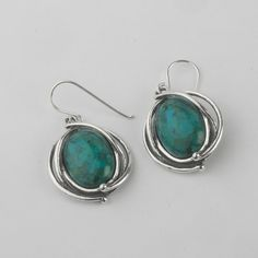 Hot Silver Earrings Dangle Oval Turquoise Jewelry Vintage 100% Solid Fashion for Women