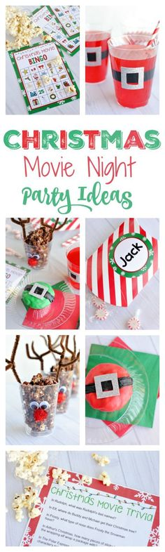 #Christmas Movie Night #Party Ideas-Games, #Treats, #Favors and More