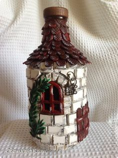 Glass Bottle Crafts, Wine Bottle Art, Diy Bottle, Wine Bottles, Photo Frame Decoration, Fun Crafts, Diy And Crafts, Bottle House, Clay Fairy House