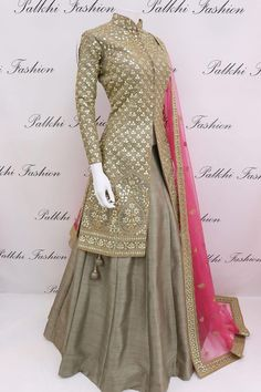 Be the sunshine of everybody's eye by dressing up in this very beautiful jacket lehenga from the all new range of palkhi fashion.this lehenga has been colored in dark beige.Crafted with pure gota work.Available with pink color embroidered net dupatta. Anarkali Dress, Pakistani Dresses, Indian Dresses, Indian Outfits, Lehenga Saree, Designer Party Wear Dresses, Indian Designer Outfits, Indian Attire, Indian Wear