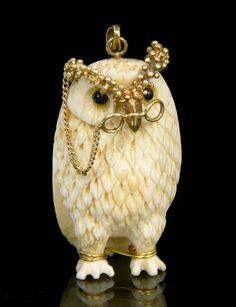 Whimsical Owl Pendant in Carved Bone and Gold