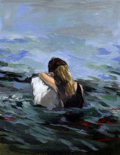 sea art Capsized 13 x 19 large print sweet by tastesorangey. , via Etsy. Aesthetic Painting, Aesthetic Art, Large Art Prints, Illustration Art, Illustrations, Extra Large Wall Art, Sea Art, Couple Art, Love Art