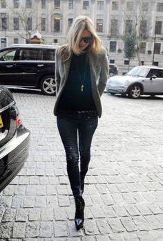 Love the mix of these distressed blues with a tailored blazer