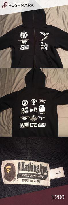 Large BATHING APE hoodie Full zip black BAPE hoodie, purchased by my friend in Tokyo Japan Bathing Ape Jackets & Coats