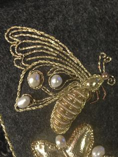 Goldwork Embroidery butterfly - my 1st use of padded pearl purl