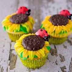 Sunflower cupcakes with ladybugs