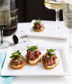 I unabashedly love beef tartare and yes, this is my favorite crostini, particularly because I gild the lily with a drizzle of truffle oil! Steak tartare has been around. Chef Recipes, Steak Recipes, Italian Recipes, Cooking Recipes, Steak Tartare, White Truffle, Truffle Oil, Tapas, Bruschetta