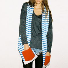 Striped Scarf Blue and White