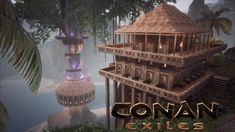 Conan Exiles - Treehouse Village Building (Speed Build) Building Concept, Building Ideas, Terraria House Ideas, Conan Exiles, Chinese Buildings, Elf King, Building A Treehouse, Games To Buy, Survival