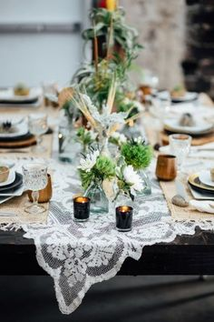 eclectic tablescape - photo by Monika Gauthier Photography http://ruffledblog.com/earthy-industrial-bohemian-wedding-inspiration