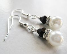 Black and white earrings rhinestone glass pearl by Etincellent