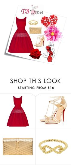"""""""www.tbdress.com"""" by milica-simovic ❤ liked on Polyvore featuring mode, Post-It, Christian Louboutin, Yves Saint Laurent, London Road, vintage en tbdressreviews"""