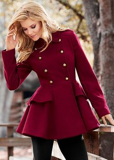 Women's Peplum coat. EVERYTHING about the fit is perfect. Like to have it but especially in brighter color. - ts