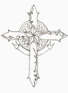 cross tattoo. The nautical star to be done with Red, White and Blue! The cross in back and grey and the banner would have the names of my Mother and my grandparents! This is a must have for me!