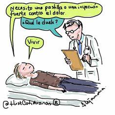 """140 Me gusta, 4 comentarios - Historias Cotidianas (@histcotidianas) en Instagram: """"#necesito una #pastilla ... #pastillas #inyeccion #dolor #vida #comics #ilustracion #illustration…"""""""