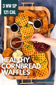 These healthy cornbread waffles make great sides for chili, pulled pork, and chicken. If you are looking for an awesome game day food recipe, you need to have these with your party spread. The cornbread waffles are freezer friendly, they are a Weight Watchers friendly cornbread recipe, and they are damn delicious too. If you are looking for a fun Dash Mini Waffle maker recipe, you need this in your life. (you can use a large waffle maker too!) Mini Waffle Recipe, Waffle Maker Recipes, Healthy Cornbread, Cornbread Waffles, Sugar Free Recipes, Ww Recipes, Cooking Recipes, Recipies, Fried Chicken Tenders