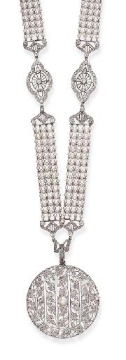 A BELLE ÉPOQUE DIAMOND AND PEARL SAUTOIR. Designed as a rose and single-cut diamond openwork pendant of foliate design, centring upon a pearl, measuring approximately 5.90 mm, suspended from a rose-cut diamond bow, to the seed pearl mesh chain, spaced by navette-shaped rose and single-cut diamond openwork links, mounted in platinum, circa 1915.