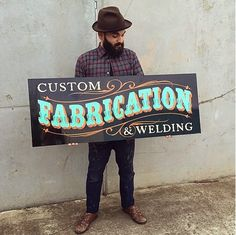 """""""Custom Farication & Welding"""" sign by Tj Pinstriping Truck Lettering, Lettering Design, Painted Letters, Hand Painted Signs, Storefront Signs, Garage Art, Garage Signs, Sign Writing, Welding Art"""