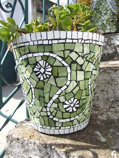 MulticoloredPieces: Mosaics U0026 Garden Pots To Match The Walk Way  Out Of The  Bathroom