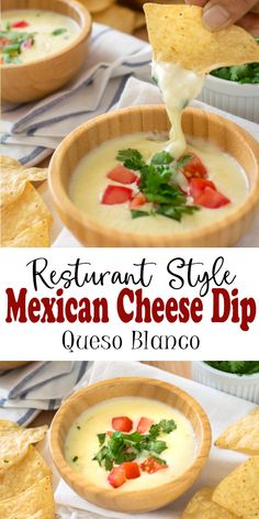 This is the Best Mexican Cheese Dip recipe! With just 3 ingredients, this is the.,This is the Best Mexican Cheese Dip recipe! With just 3 ingredients, this is the authentic queso blanco dip recipe that you get at Mexican restaurants. Cheese Dip Recipes, Yummy Recipes, Appetizer Recipes, Cooking Recipes, Healthy Recipes, Healthy Food, Recipe For Cheese Dip, White Queso Recipe, Salsa Recipe