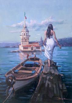 Clic to see all images Watercolor Illustration, Watercolor Art, Pintura Colonial, Foto Poster, Boat Art, Turkish Art, 3d Painting, Bathroom Art, Mosaic Art