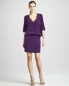 Drop-Waist Silk Dress by Nicole Miller at Neiman Marcus.