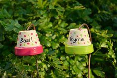 Pair of Plant Markers, Hand-painted, Garden Gifts, Terra Cotta, Herb Markers. $9.00, via Etsy.