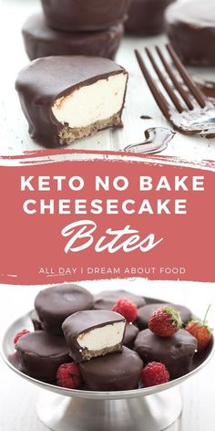 Easy no bake dessert! Creamy keto vanilla cheesecake with a pecan nut crust, all dipped in sugar-free chocolate. Little bites of heaven! Keto No Bake Cheesecake, Baked Cheesecake Recipe, Cheesecake Bites, Easy No Bake Desserts, Delicious Desserts, Dessert Recipes, Keto Desserts, Sugar Free Recipes, Low Carb Recipes