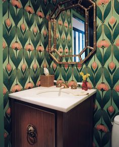 Bathroom Photo - Floral wallpaper and a gold faux-bamboo mirror in a powder room
